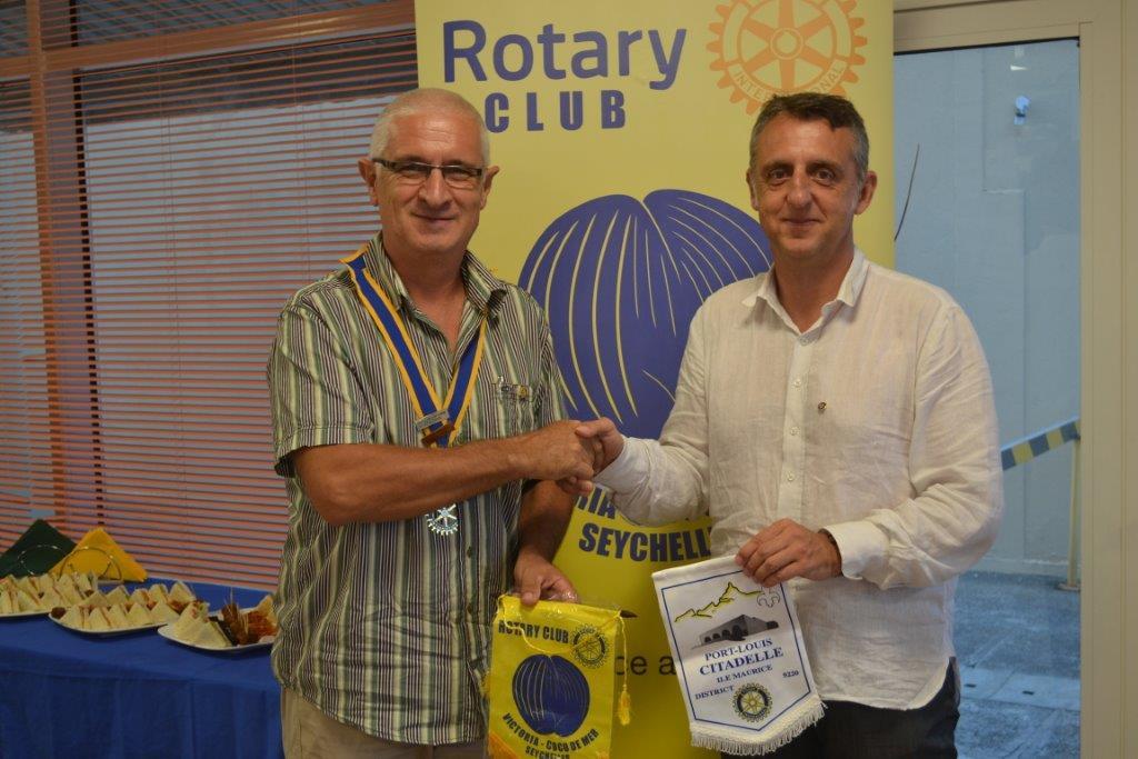 Visiting Rotarian Florent Beusse of RC Port Louis Citadelle, Mauritius